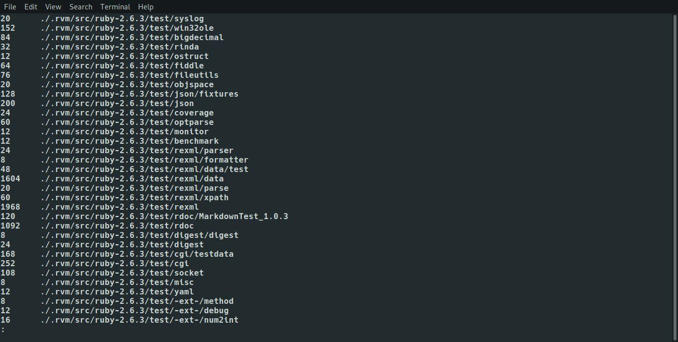 Linux du command with less