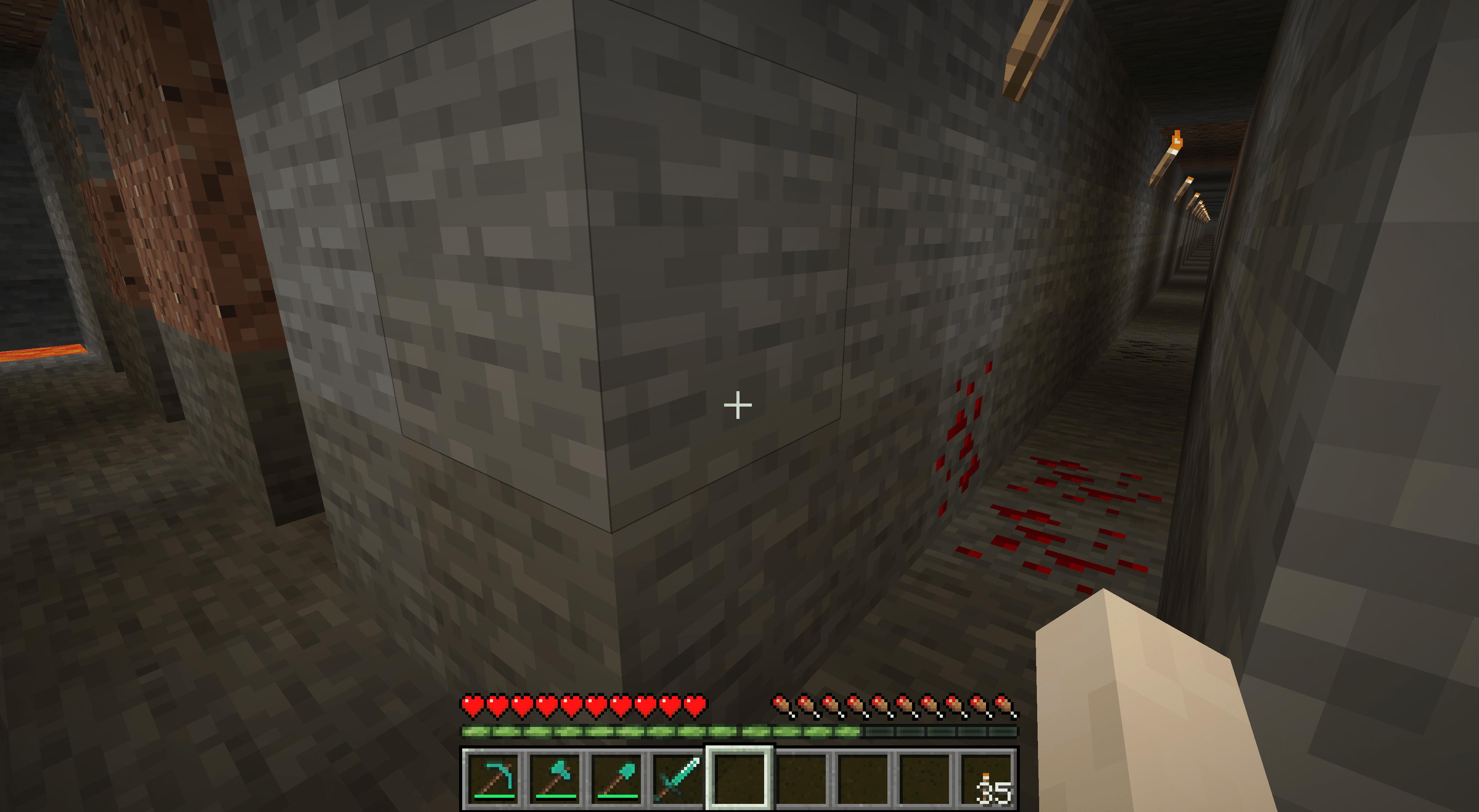 Parallel mineshafts in Minecraft.