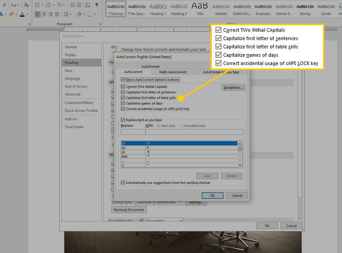 Word Autocorrect options with choices highlighted