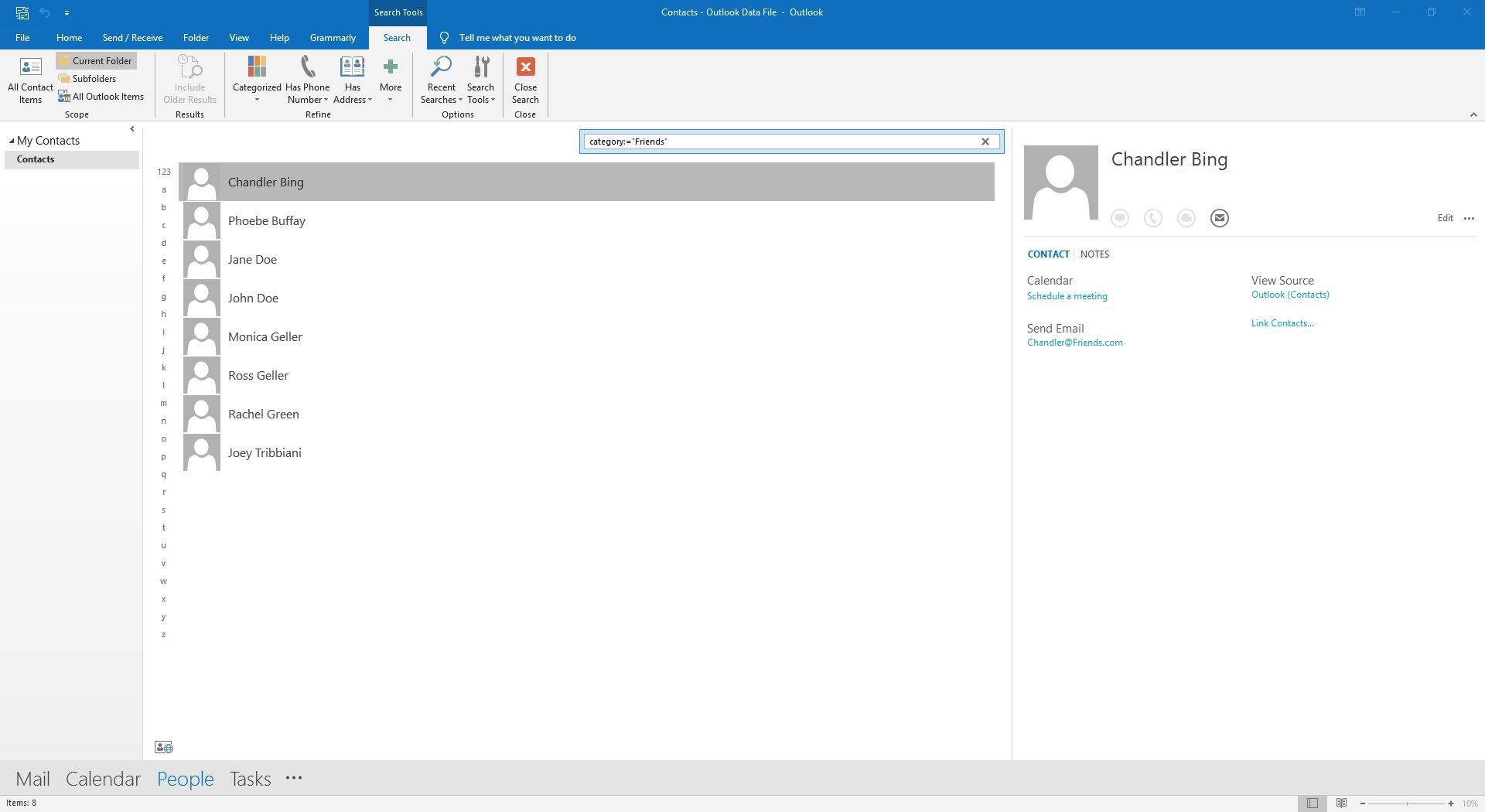 Searching for a friends category in Outlook
