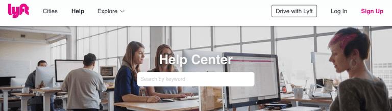 Screenshot of Lyft Help Center page.