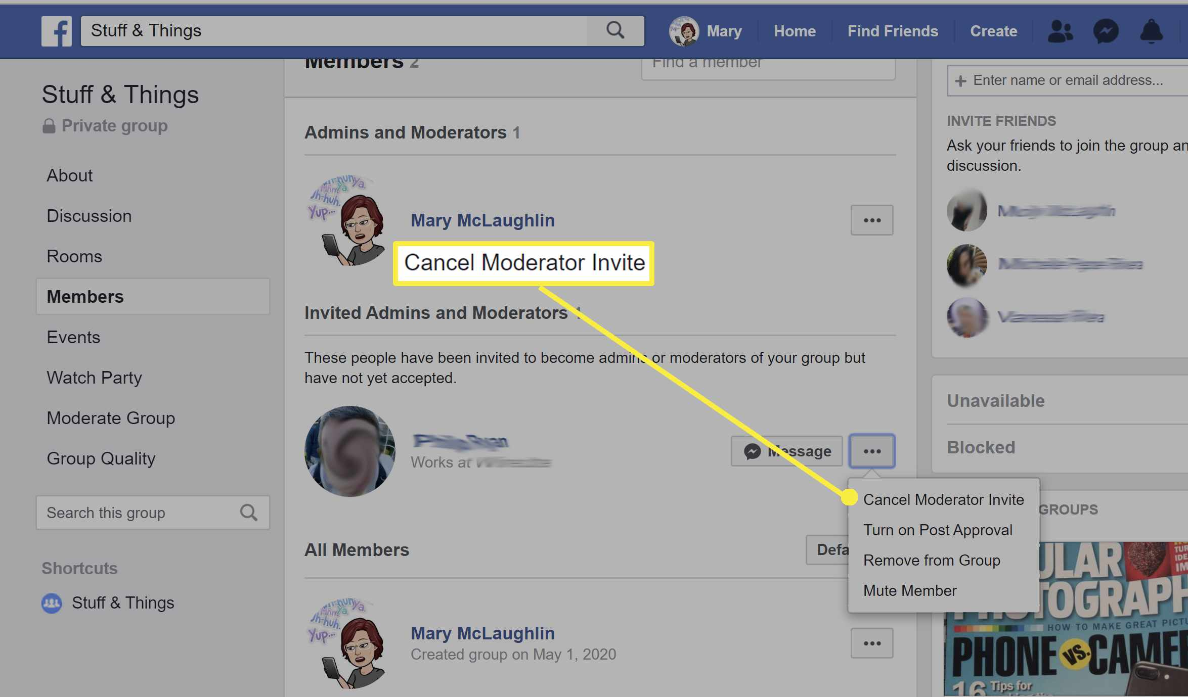 Canceling moderator invite on a Facebook page.