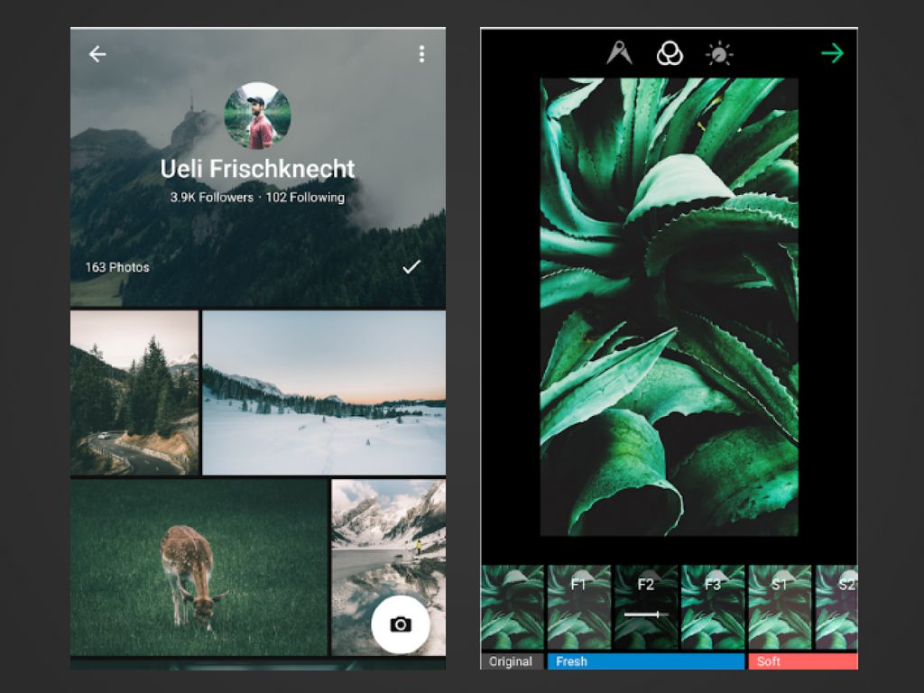 Two screenshots of the EyeEm app for Android.