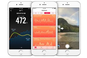 The iPhone's with health, Nike, and camera apps open