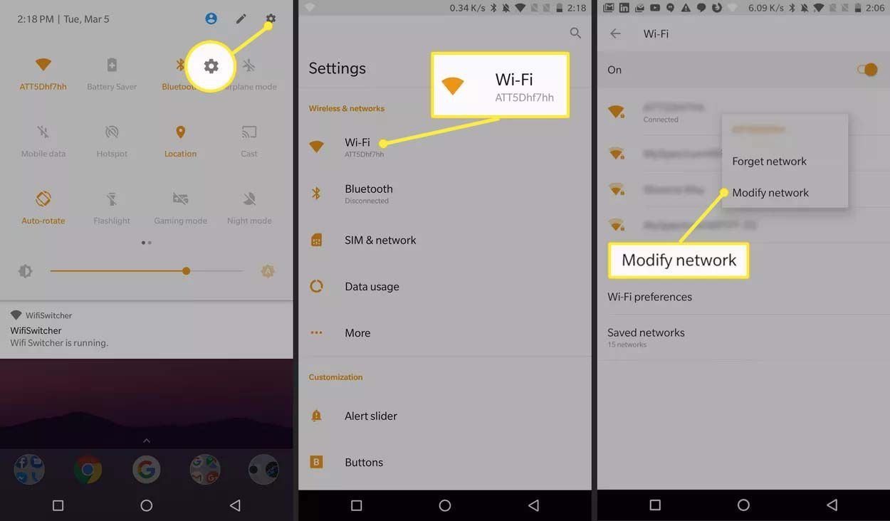 An Android 8 user accesses Wi-Fi network settings