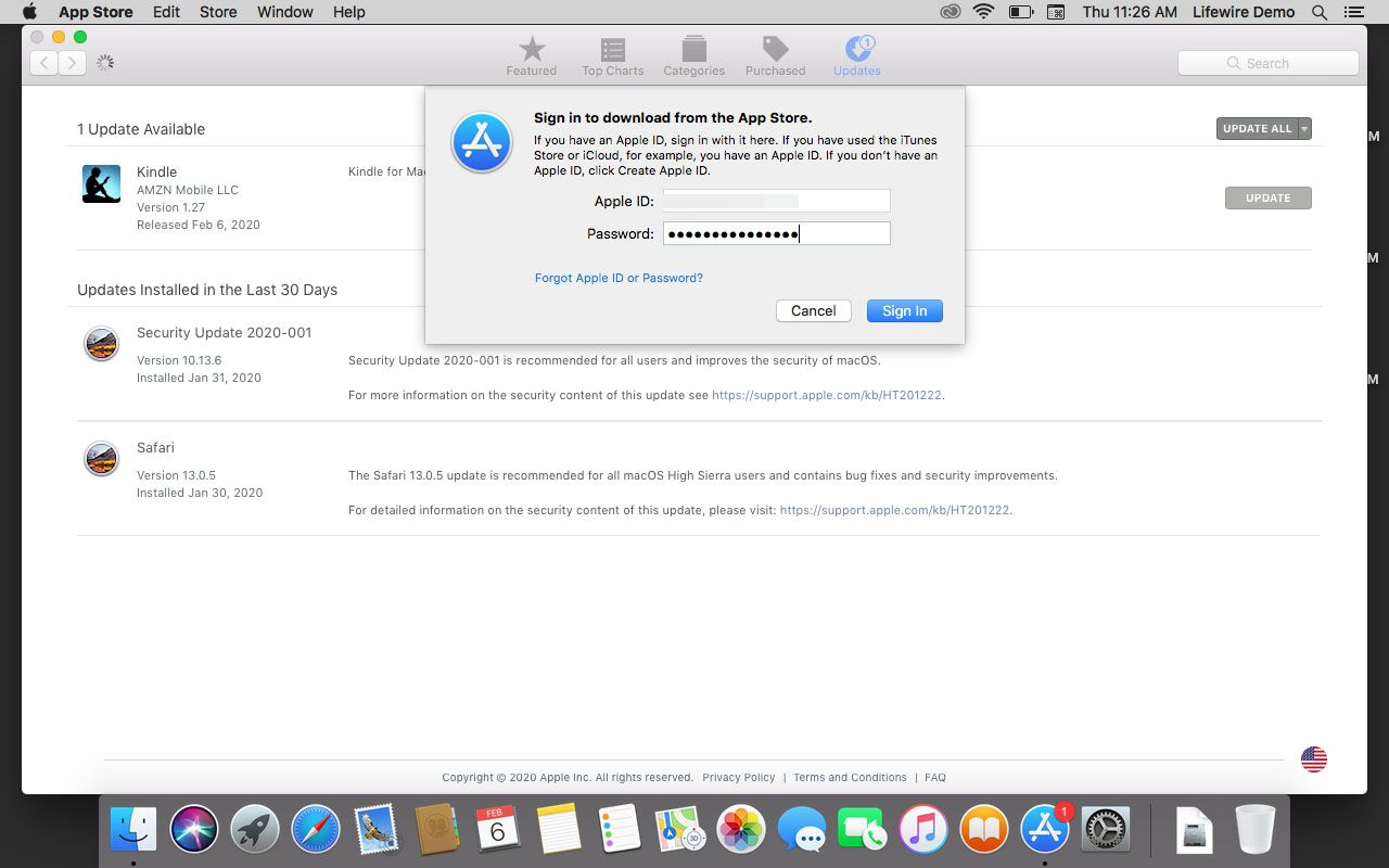 Prompt to enter in Apple ID info.
