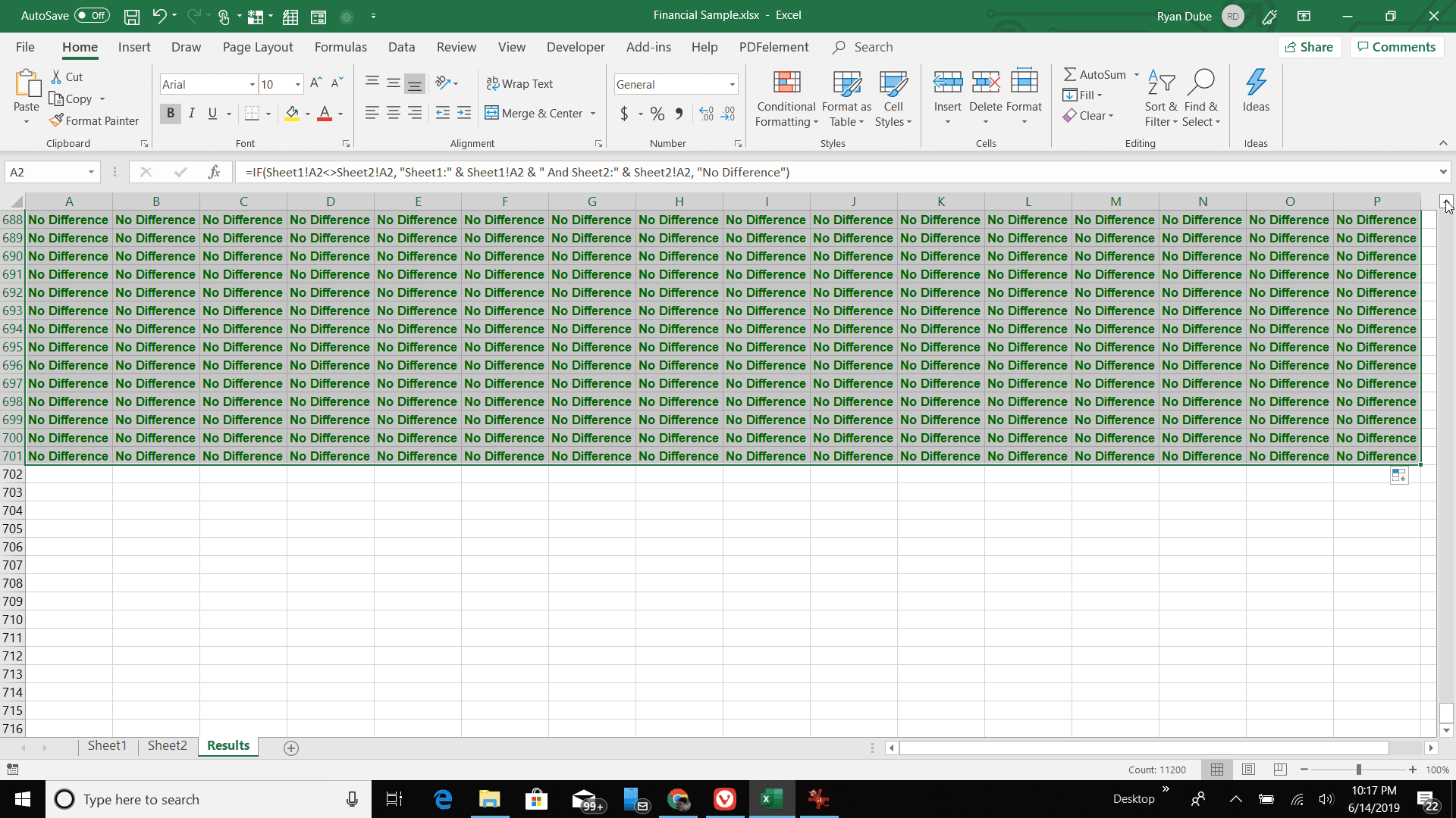 Screenshot of filling the results sheet with the comparison formula