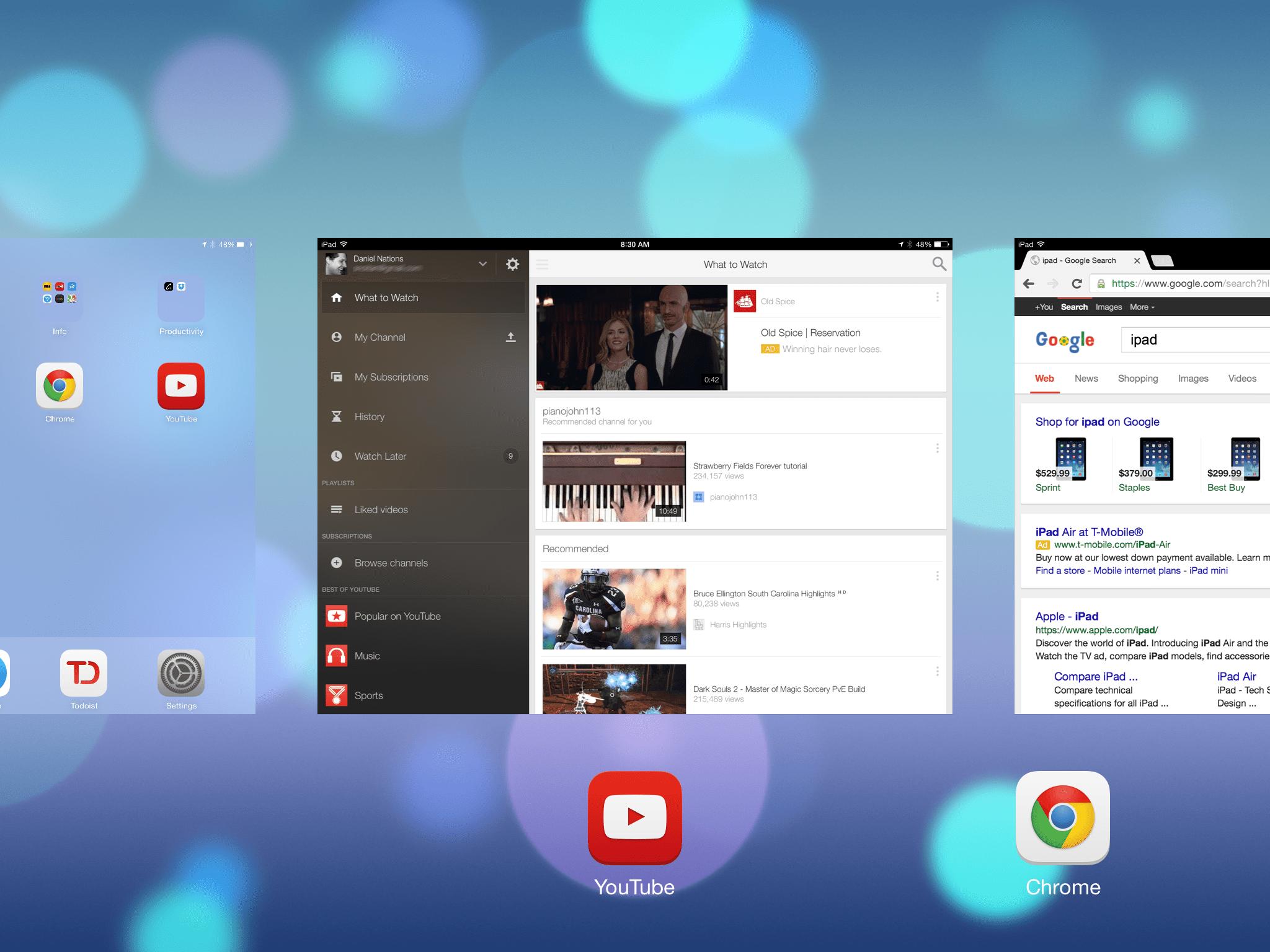 Multitasking on an iPad