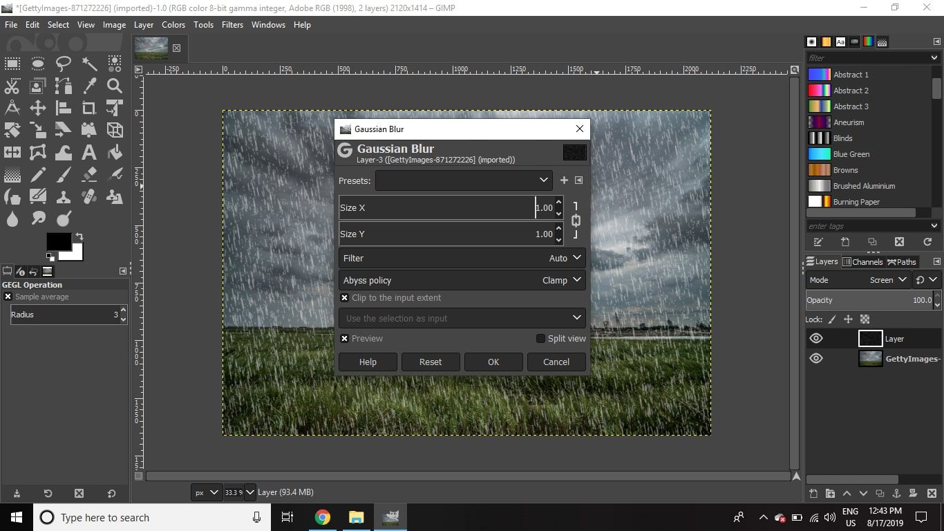 Go to Filters > Blur > Gaussian Blur and set the Horizontal and Vertical values to 1.