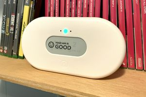 The AirThings View Plus resting on a shelf