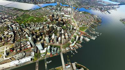 3D drone satellite view of Boston downtown district and bay area