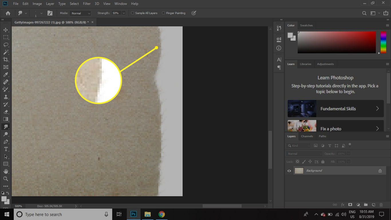 A close up view of the torn edge in Photoshop