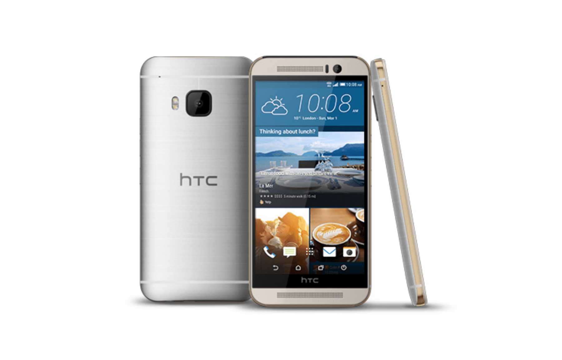 HTC One M9 smartphones, seen from back, front, and side