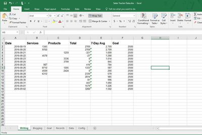 Screenshot of an Excel spreadsheet