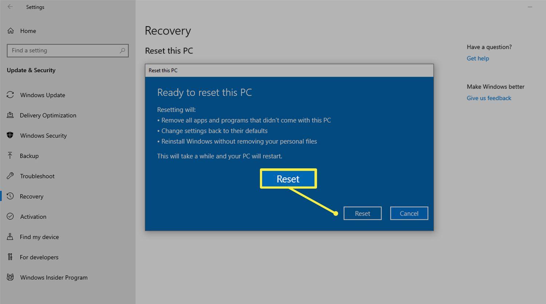 Reset button when factory resetting a computer running Windows 10