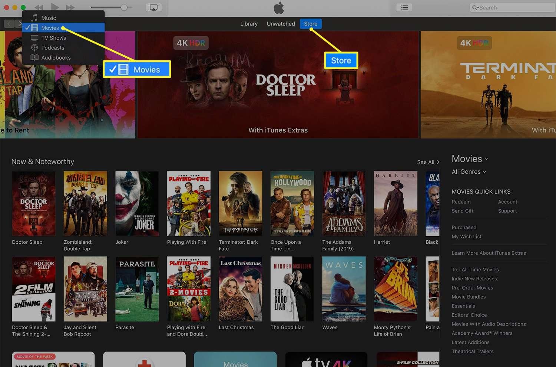 iTunes Movies screen