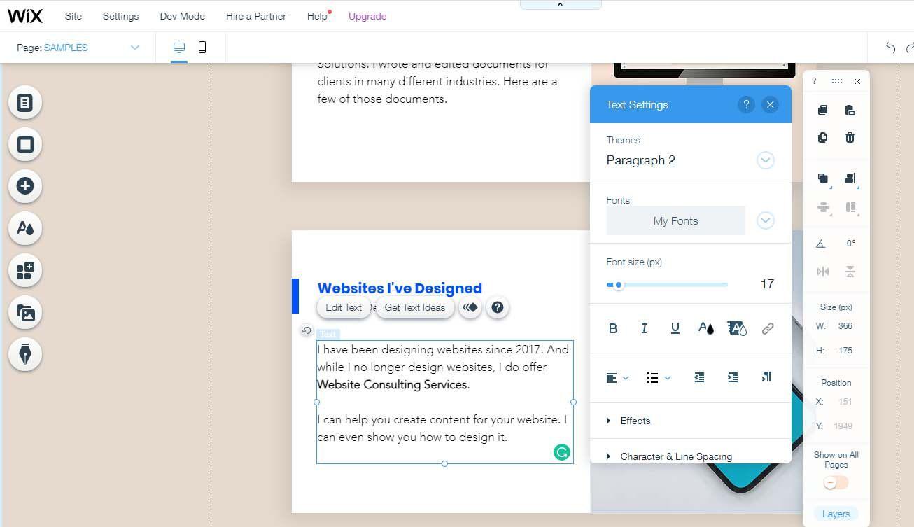 Wix WYSIWYG website design