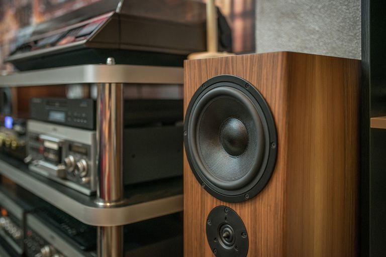 Wooden speaker in a home sound system