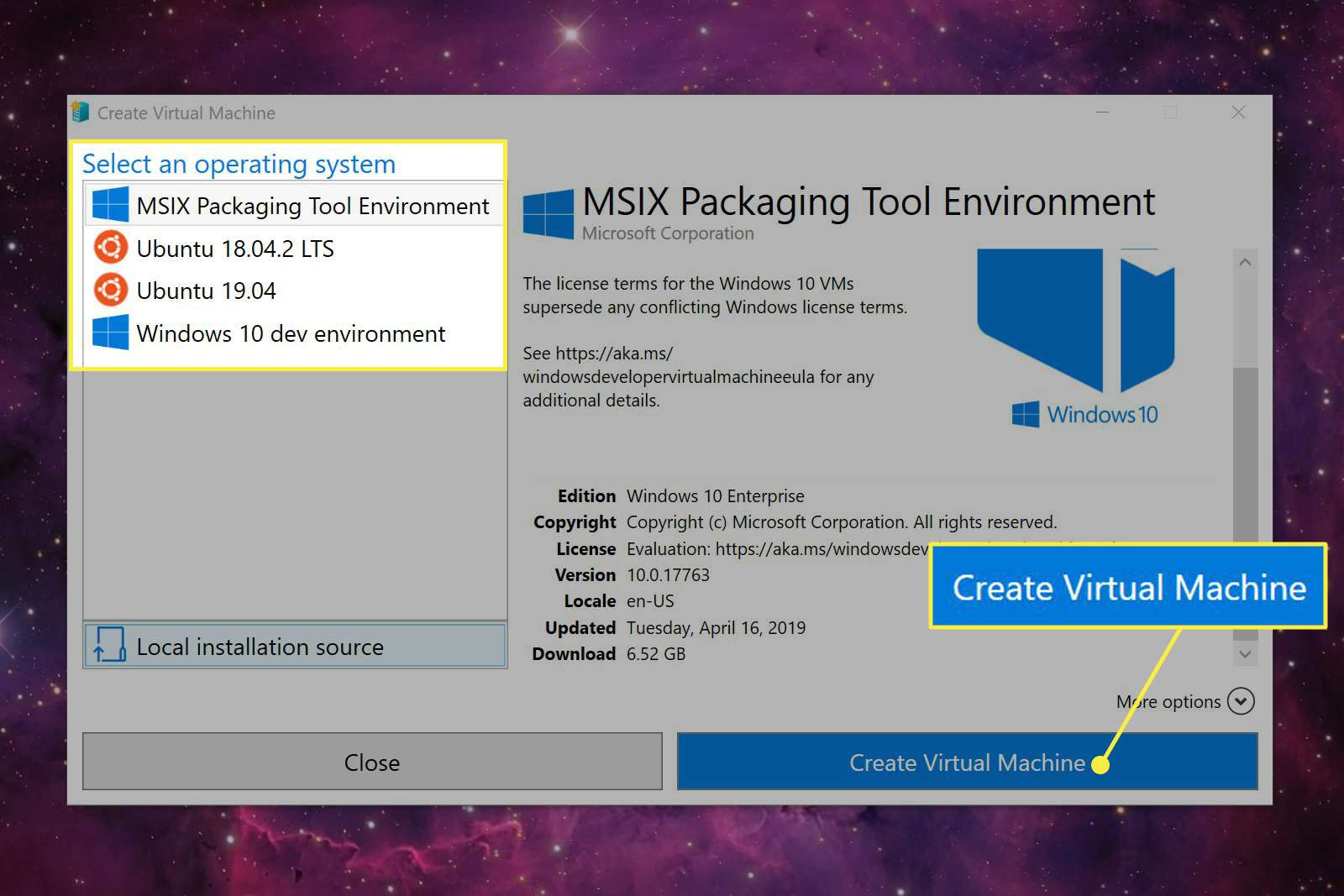 OS options and the Create Virtual Machine button