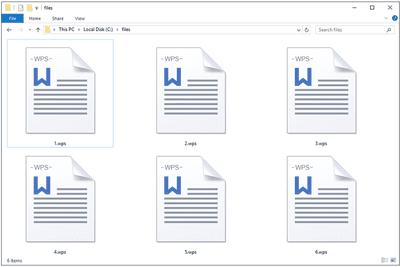 WPS files in a Windows 10 folder