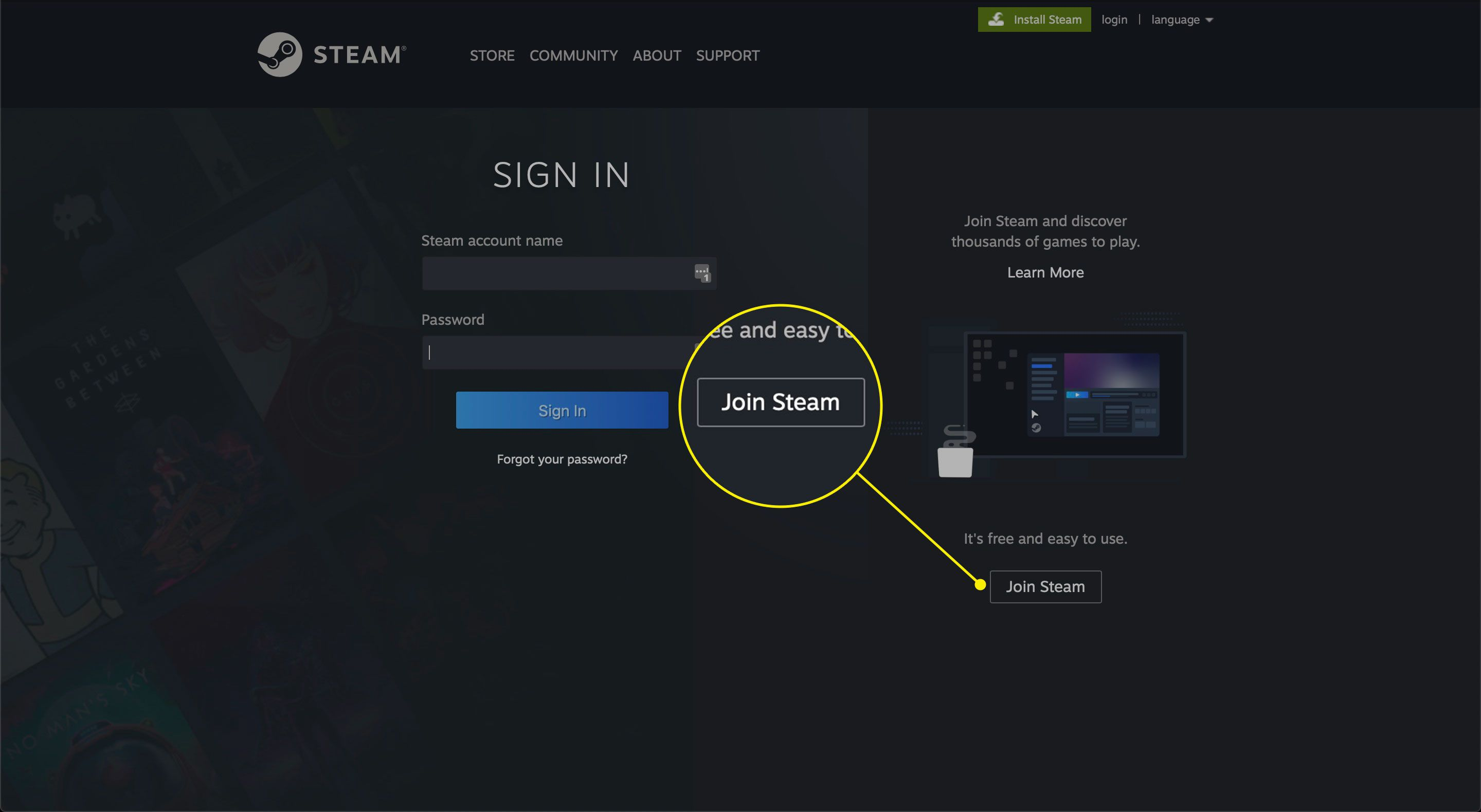The Join Steam button