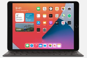 Image of an open 8th gen iPad with apps on the screen.
