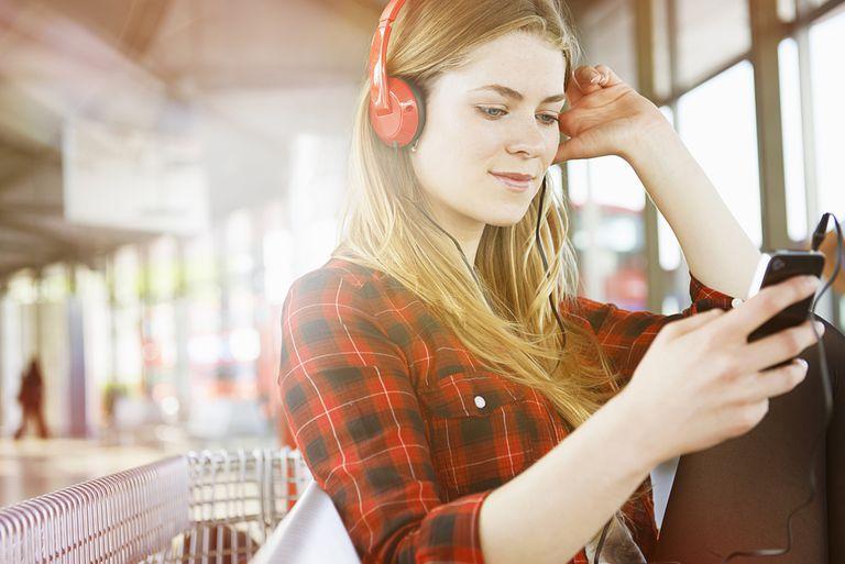 Woman listening to music on Amazon music service