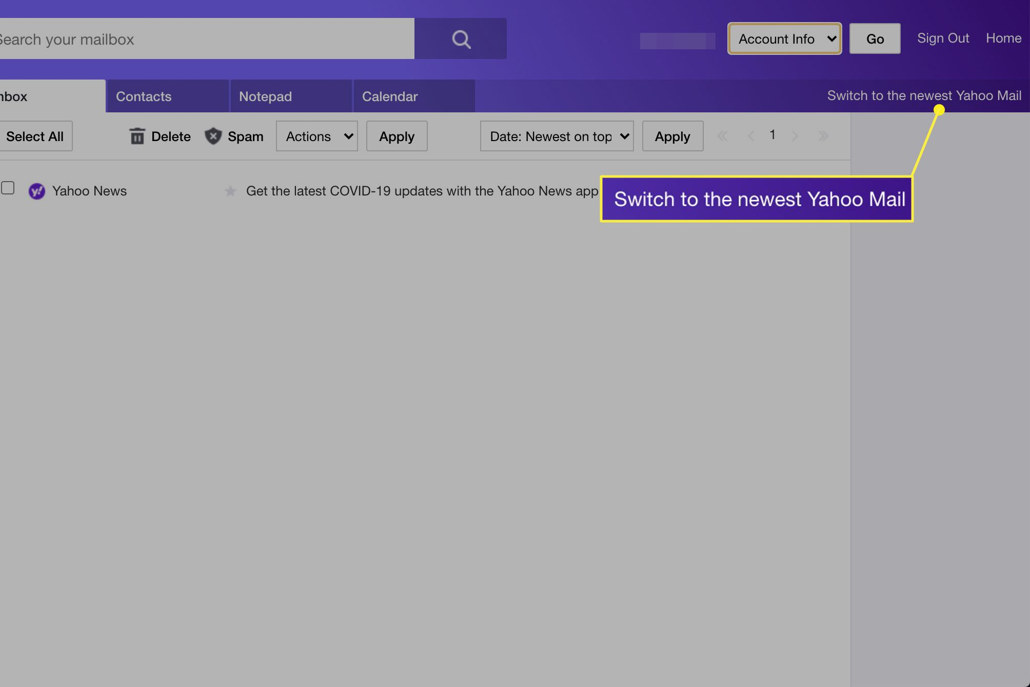 Yahoo Basic with Switch to the newest Yahoo mail highlighted