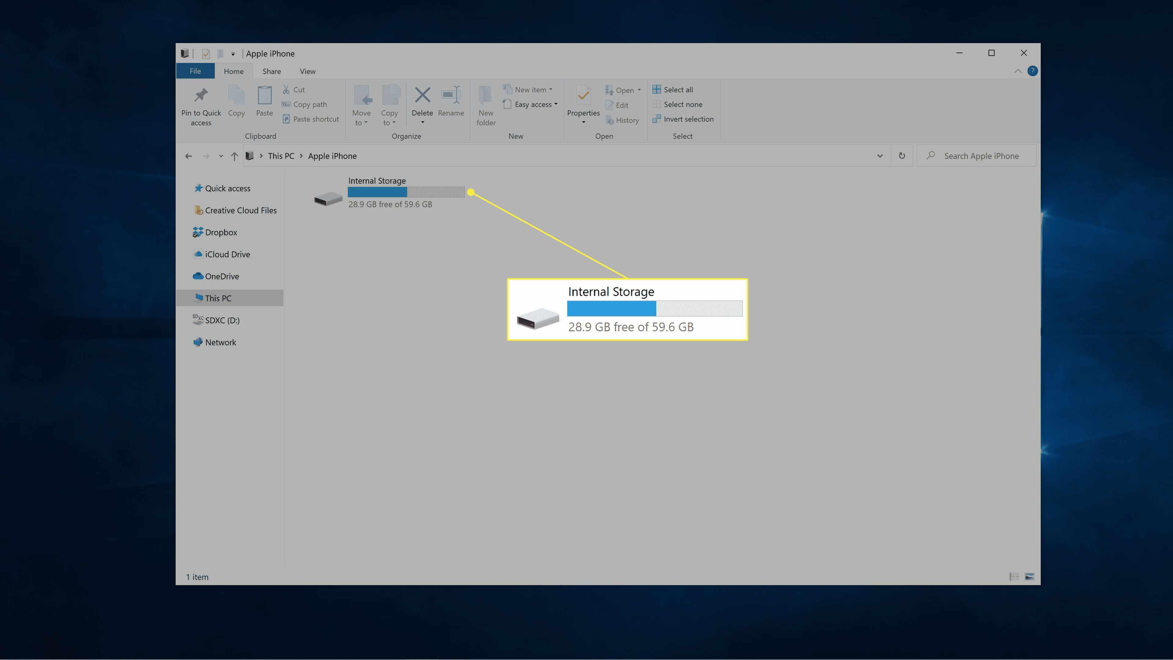 Internal Storage highlighted in Windows file explorer.