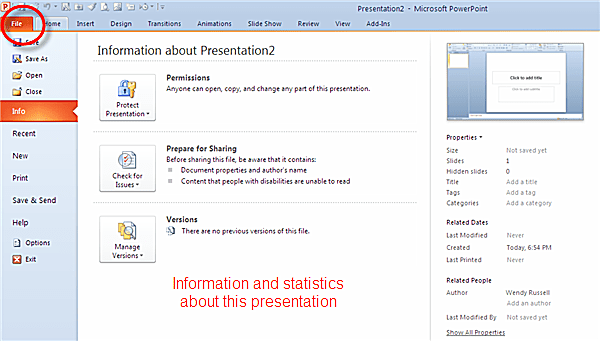 Information and statistics about this presentation on File tab of PowerPoint 2010 ribbon