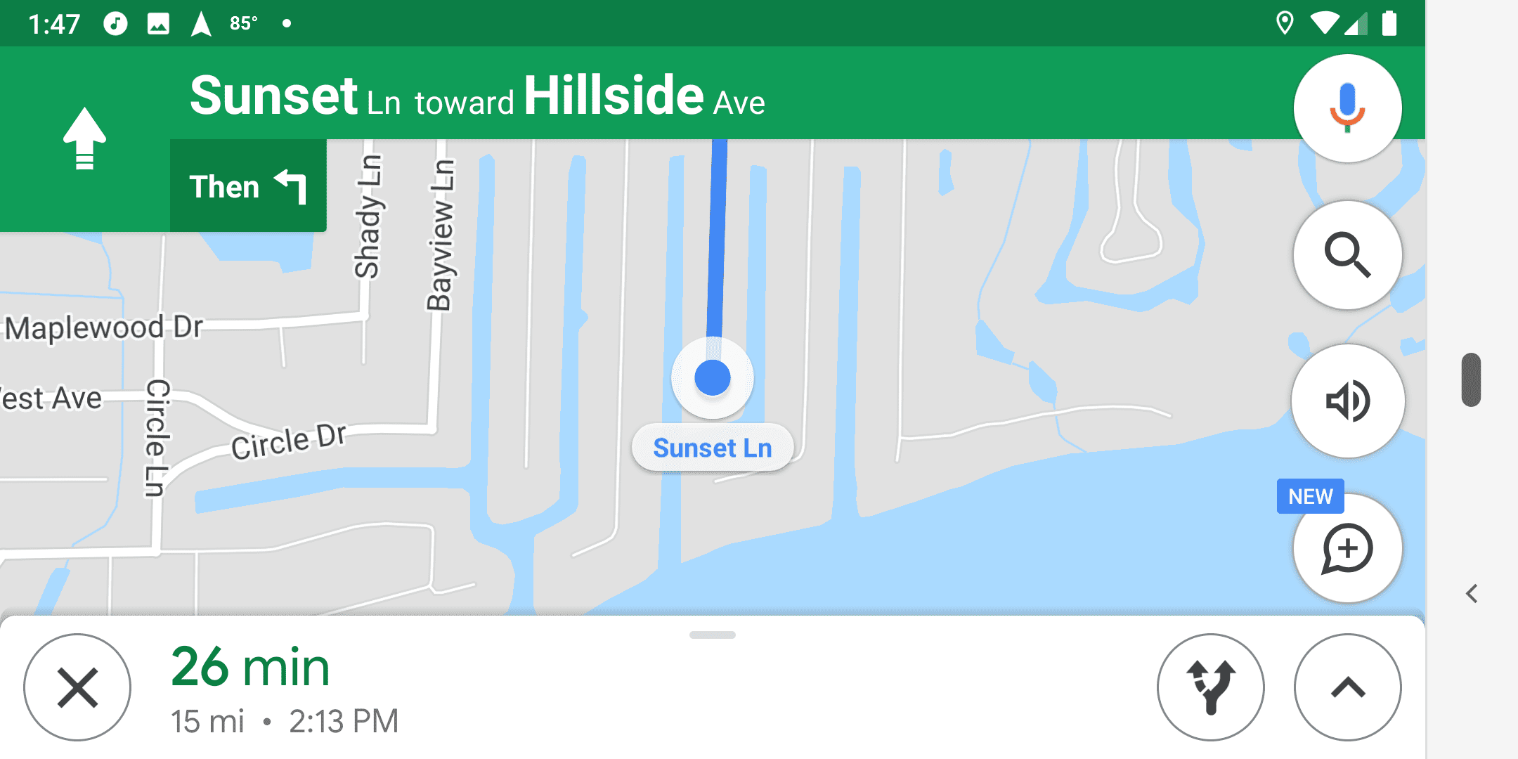Music playing in the Google Maps app