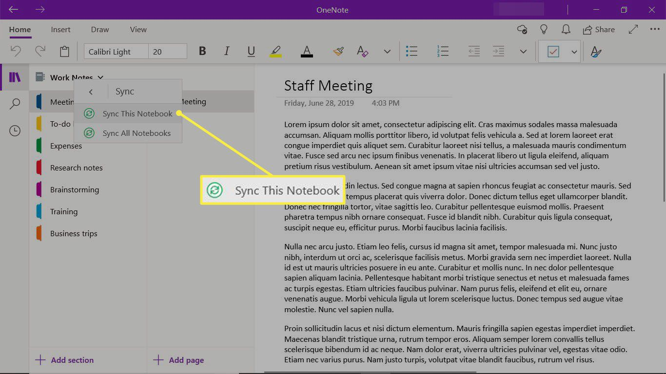 Manually sync a notebook in the OneNote desktop app