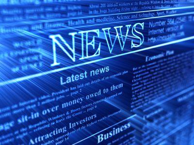 isometric news headlines on a blue background