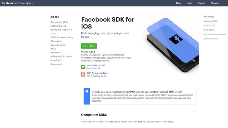 A screenshot of the Facebooks SDK for iOS website.