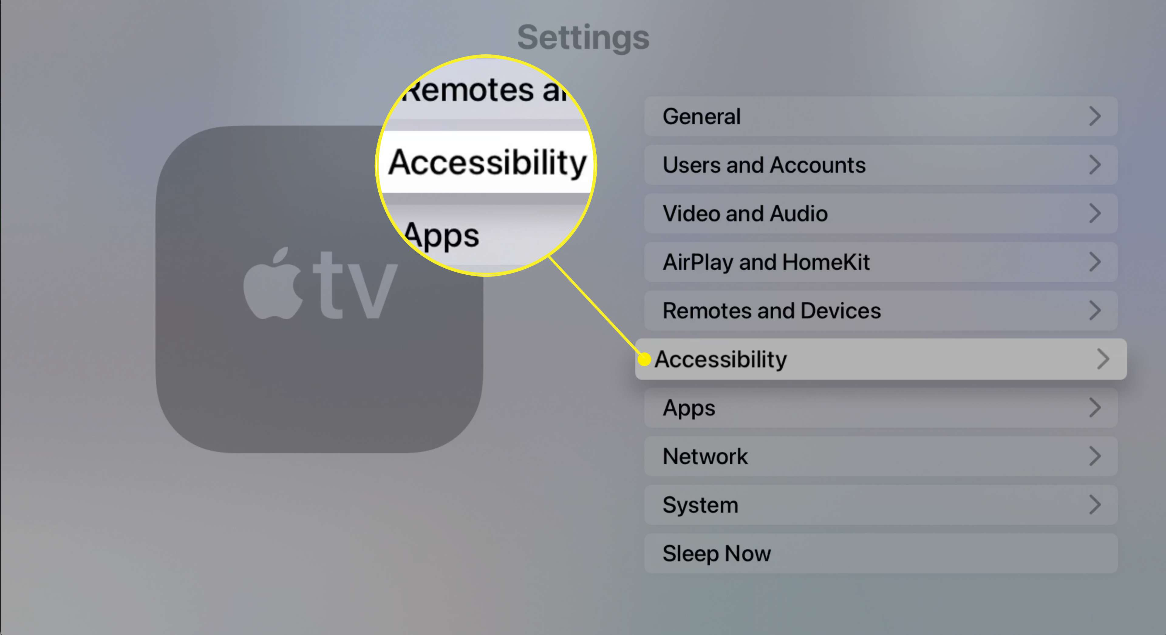 The Accessibility setting on Apple TV