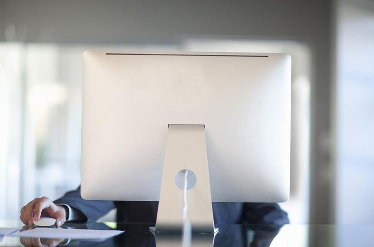 Mid adult person working behind computer at desk