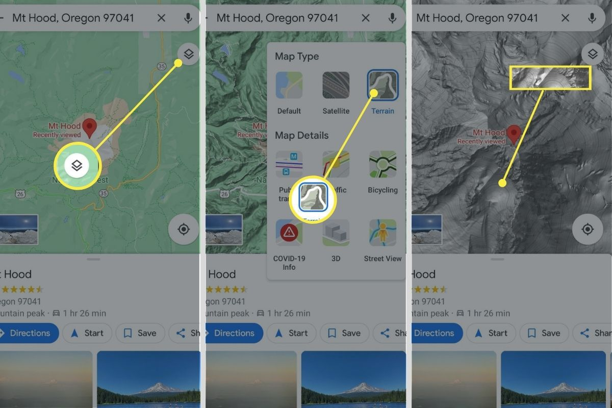 Layers icon, Terrain, and Elevation contours highlighted in the Google Maps app