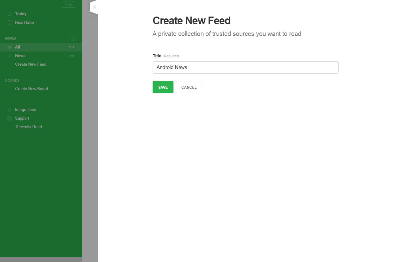 Create New Feed page on Feedly