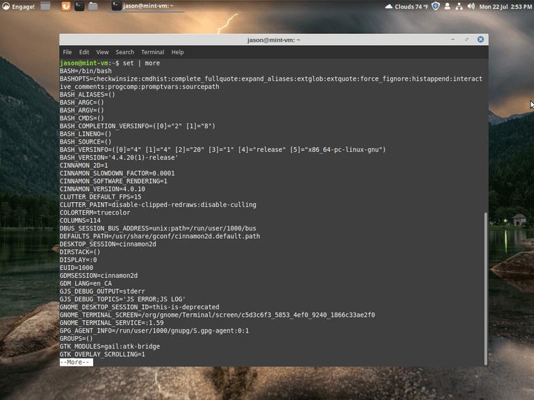 linux set command screenshot