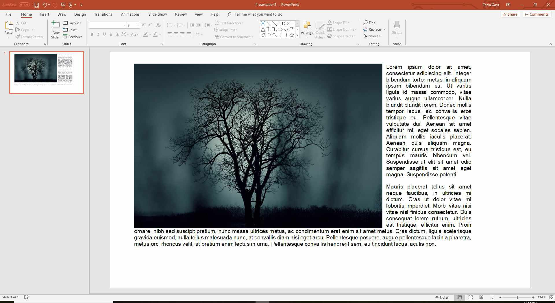 Wrapped text in PowerPoint