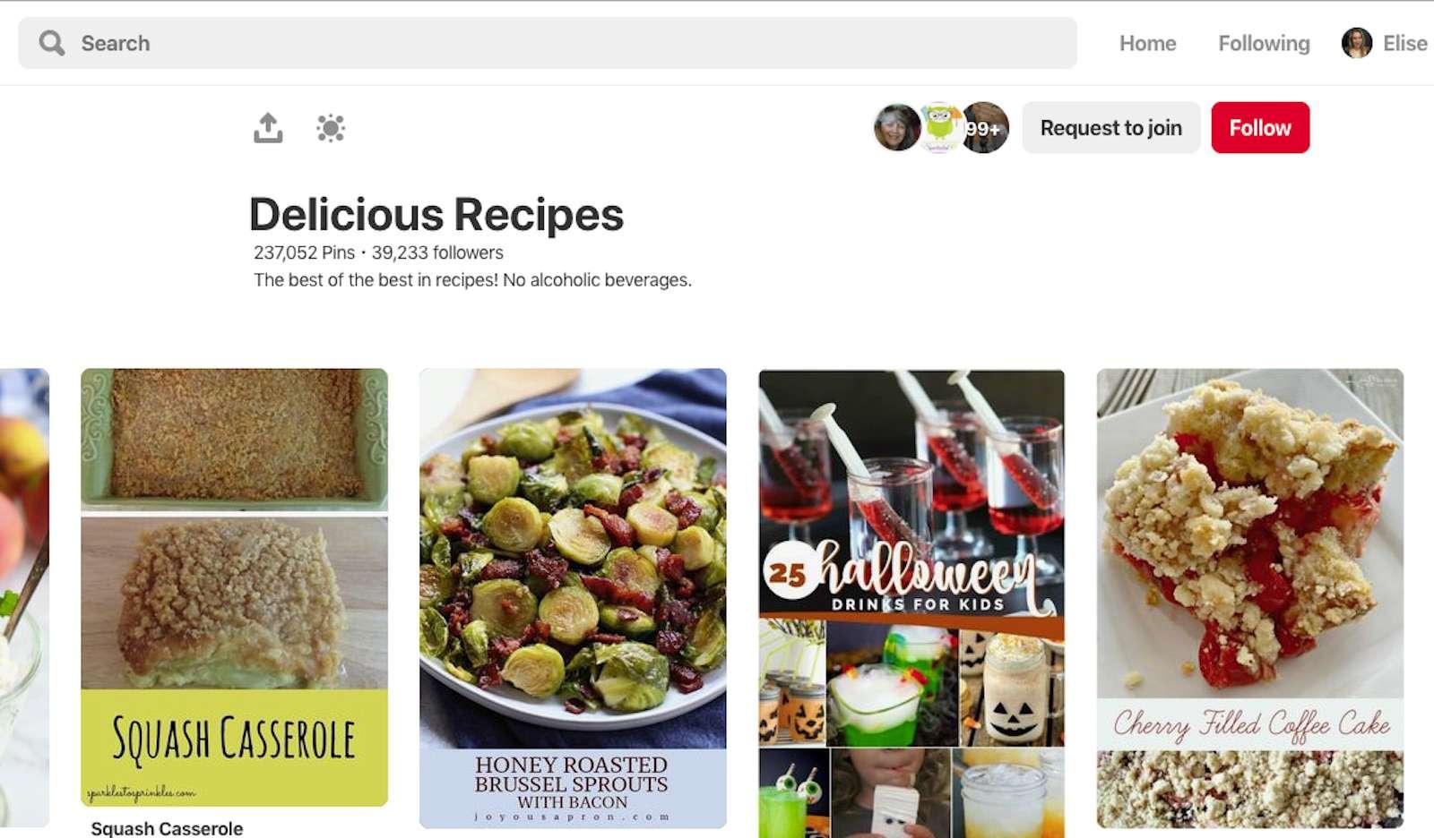 A screenshot of Pinterest.com.
