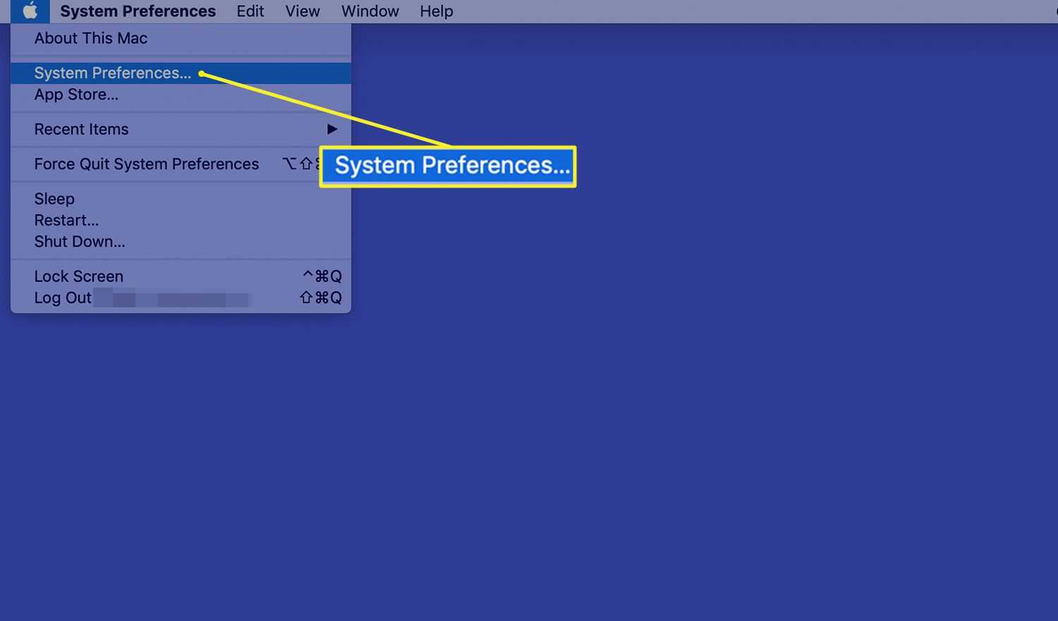 Mac System Preferences selected in the Apple menu