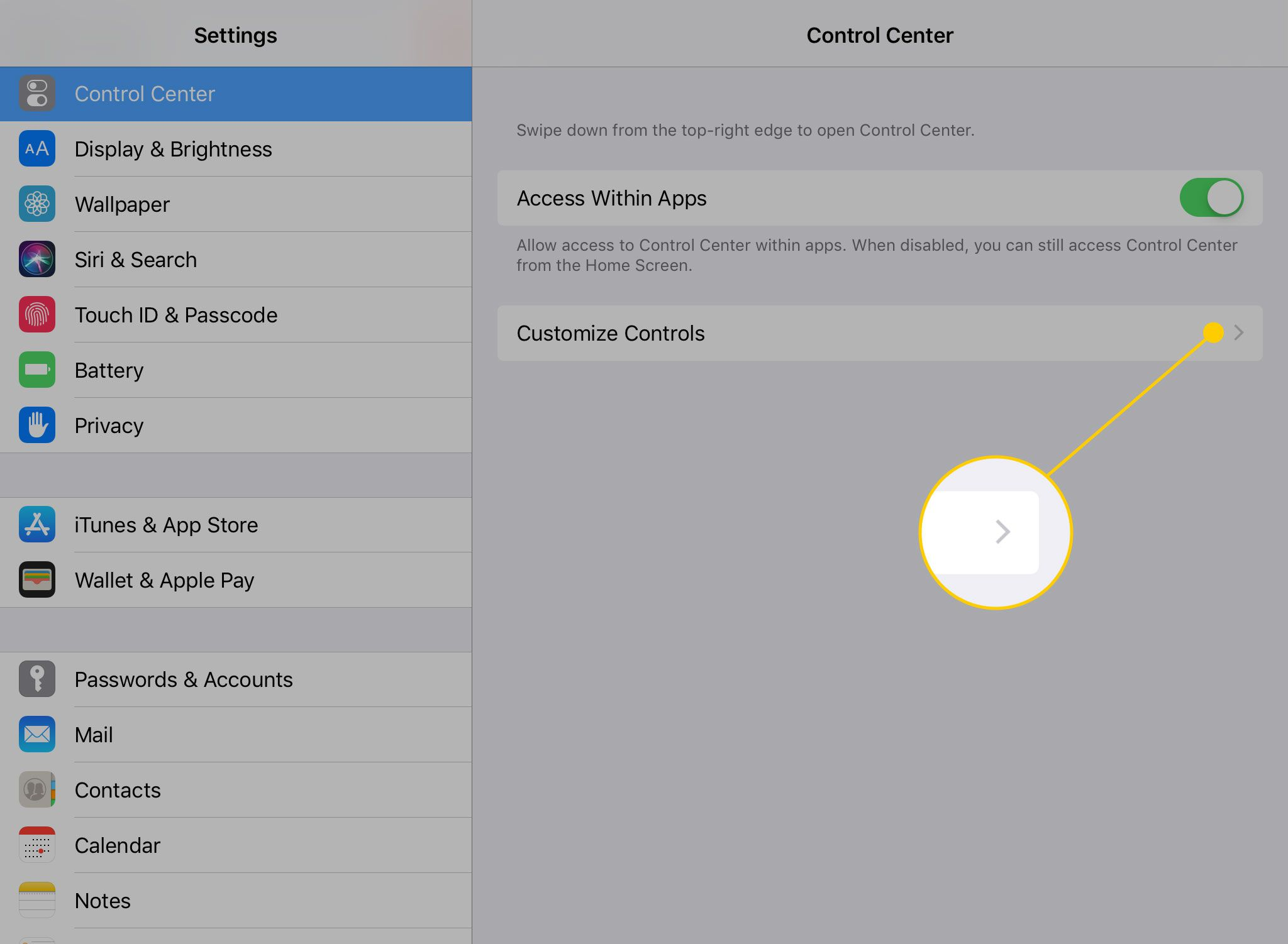 iPad Control Center settings with Customize Controls heading highlighted