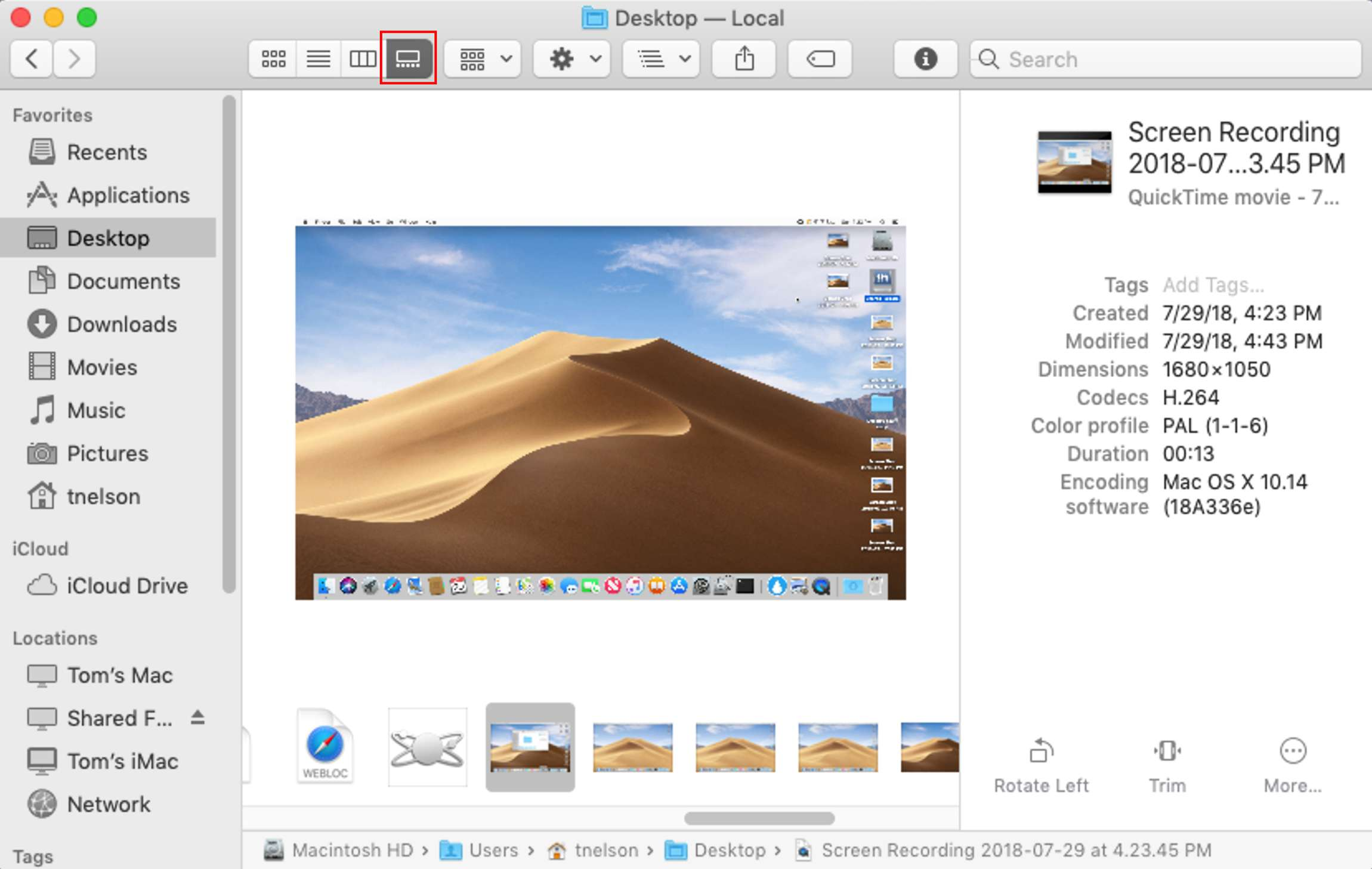 Gallery View in macOS Mojave.