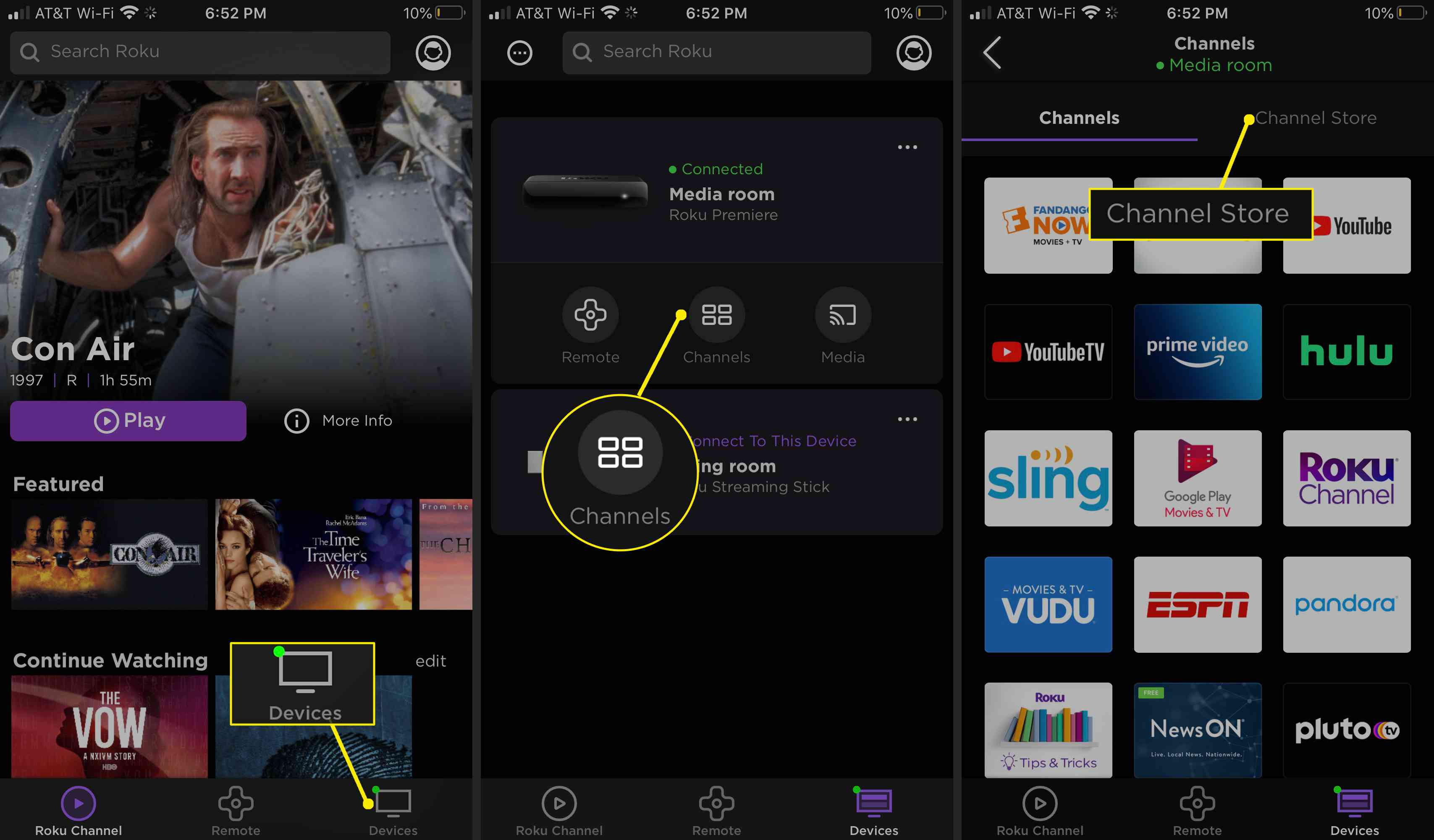 Navigate to the Roku Channel Store on the app