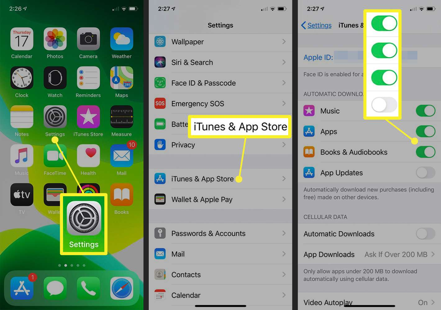 iTunes & App Stores settings on iPhone