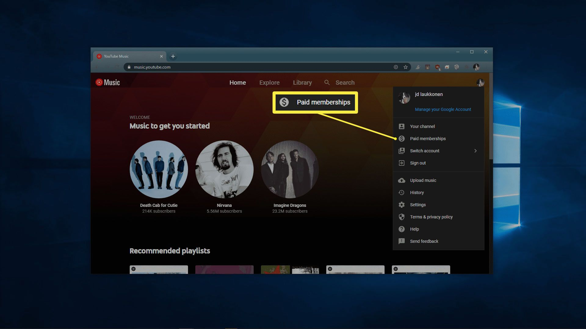 A view of the YouTube Music account menu.