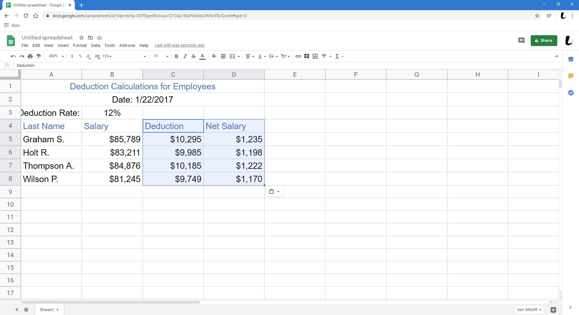 A newly formatted spreadsheet in Sheets.