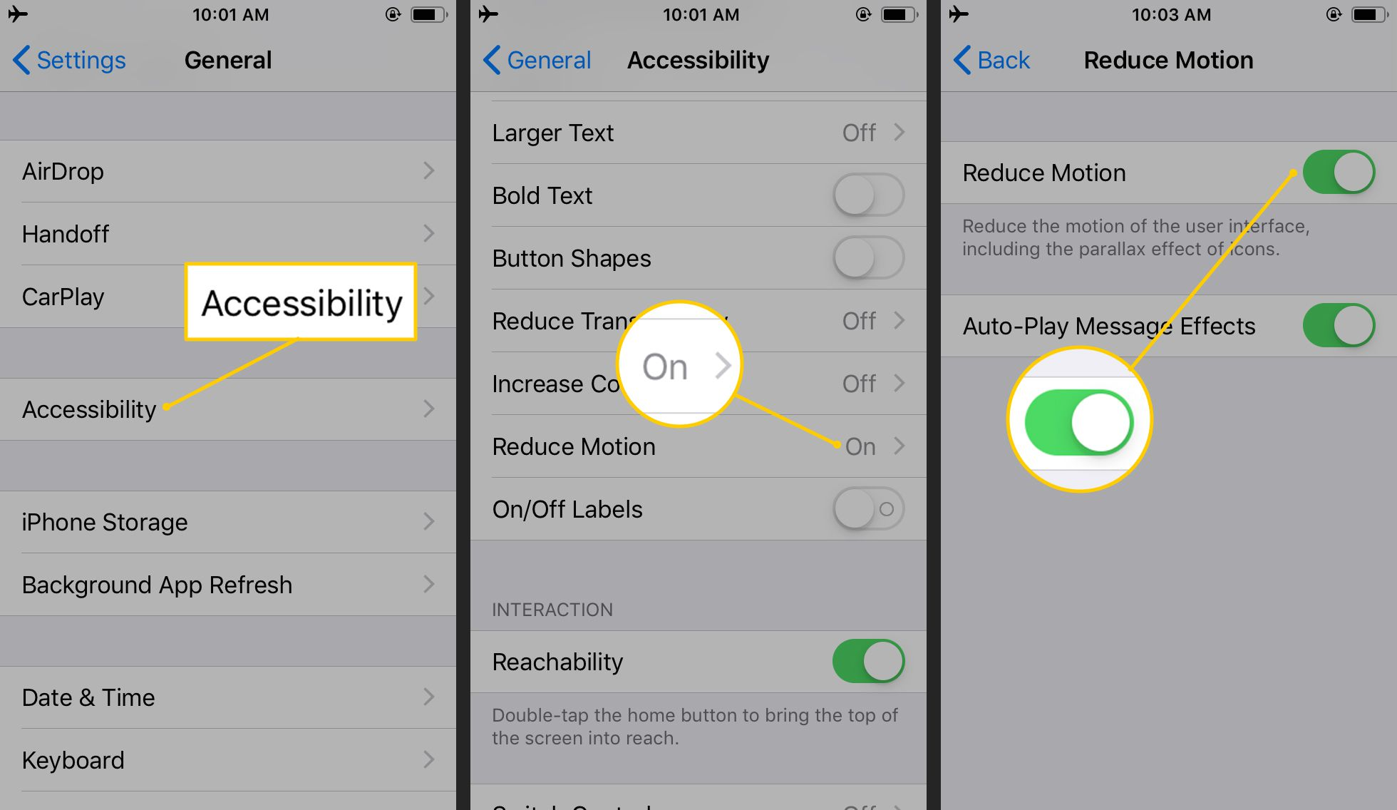 Accessibility, Reduce Motion, Toggle OFF