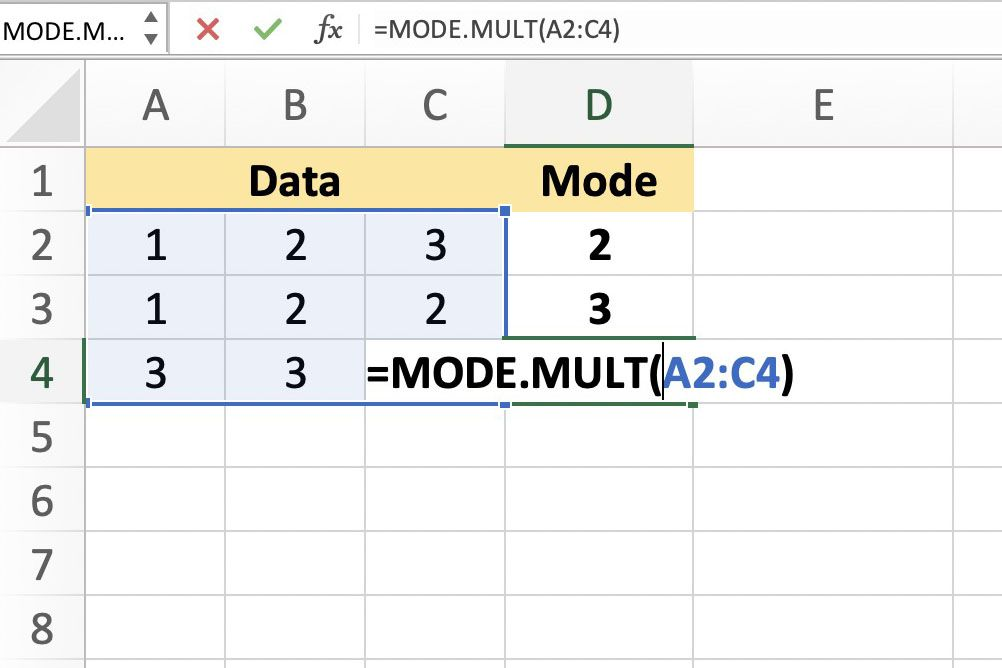 Use MODE.MULT Function in Excel